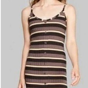 wild fable long striped brown dress L